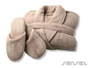Coral Fleece Bademantel und Slipper Sets