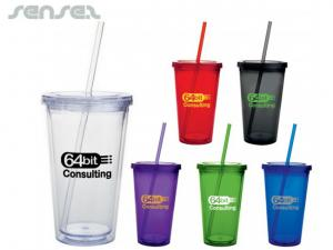 Clear Insulated Tumblers with Straw (532ml)