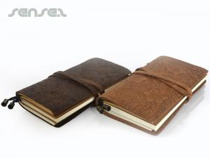 Floral Embossed Leather Notebooks