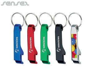 Metal Colour Key Rings with Bottle Opener