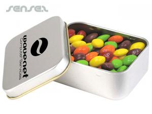 Skittles in Silber Tins