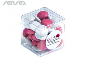 Cube Boxes with Corporate Colour Choc Beans (60g)
