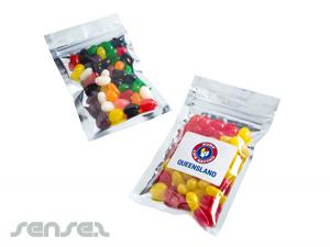 Silver Zip Lock Bags Filled with Lollies (50g)