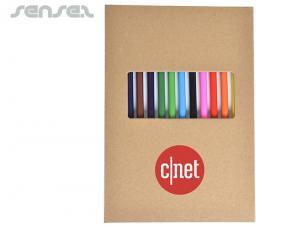 Recycling-Karton Trifold Sketch Pads mit 12 farbigen Bleistiften