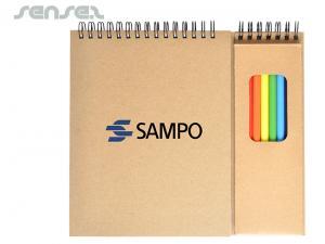 Recycling-Karton-Spiral-Kunst-Pads mit farbigen Bleistiften