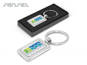 Rectangular Metal Key Rings With A Plated Shiny Chrome Finish