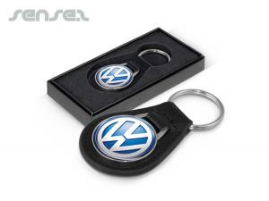 Genuine Leather Key Rings Round