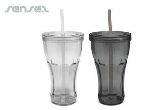 BPA Freie Trommeln mit Deckel und eingebaute trinken Strohhalme