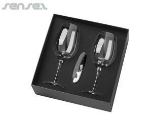 Weinglas-Sets mit Korkenzieher