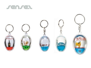 Oval Shaped Liquid Filled Key Chains