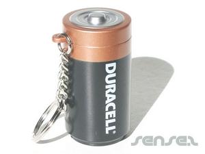 battery shaped keyring maraca