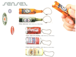 Can Or Bottle Shaped Torch Projector Key Chains
