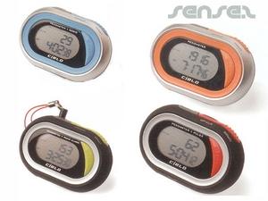 pedometer radio, alarm, bodyfat, pulse