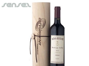 Birch Wood Cylinder Wine Giftpack