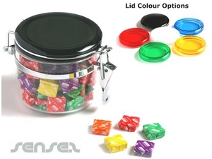 Lolly Jars with Colour Lids 300g