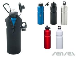 Alu Water Bottles 750ml -With Case