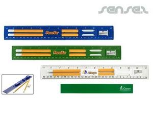 Biologisch abbaubare Kunststoff-Lineale mit Bleistift und Spitzer Set