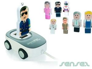 車型USBハブ(オプショナルでミニ人型USBつき)