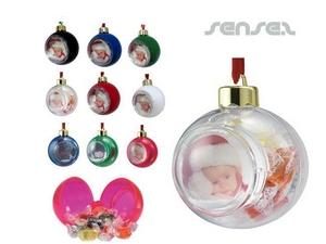 Weihnachts Foto Tannenbaum- Schneekugeln mit Fluessigkeit und integriertem Lolly Kontainer