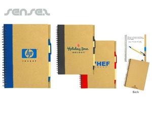 Große Recyclingpapier Notebooks mit Kugelschreiber