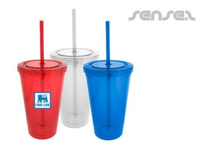 Retro Sipper Cups with Straw (473ml)
