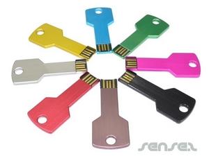 Slim Colour Metal Key Shaped Sticks (2GB USB)