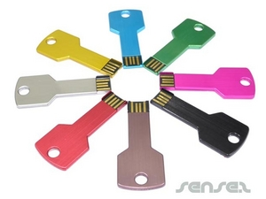 Slim Colour Metal Key Shaped USB Sticks (2GB)