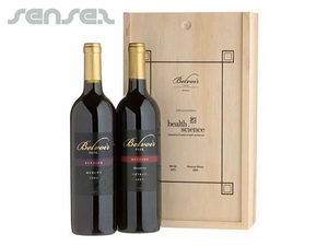 Twin Wooden Wine Box Gift Set