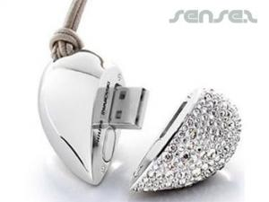 Diamonte Heart USB Memory Sticks (1GB)