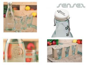 Glasflasche und Gläser-Sets (1 L)