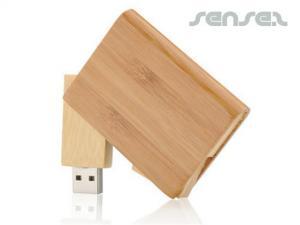 木製スイベルUSBスティック(1GB)