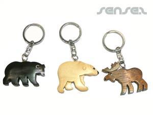 Schlüsselanhänger aus Holz geschnitzten Tiere