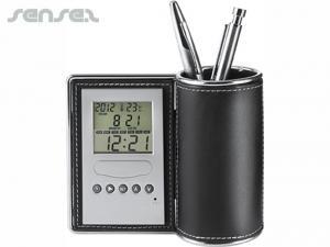 Leder Uhr & Pen Holders